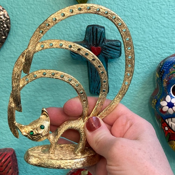 """A""""meow""""zing Vintage Gold Cat Earring Display"""